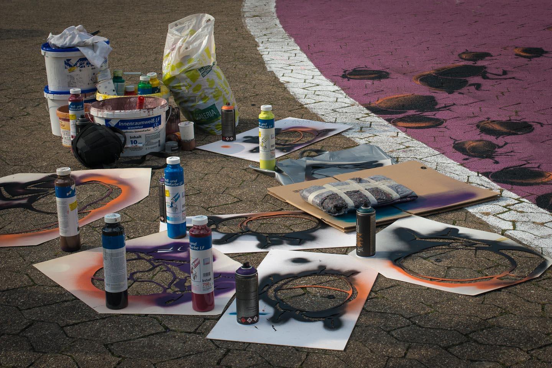 Utensilien Straßenmalerei
